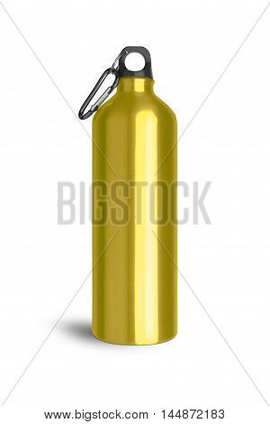 Metallic yellow water bottle with a carabiner attached to the top isolated on white background. With clipping path.