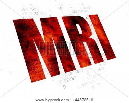 Medicine concept: Pixelated red text MRI on Digital background