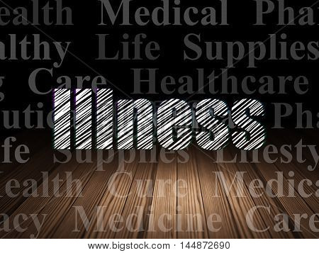 Healthcare concept: Glowing text Illness in grunge dark room with Wooden Floor, black background with  Tag Cloud