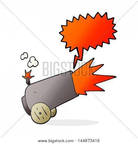 freehand drawn speech bubble cartoon cannon firing