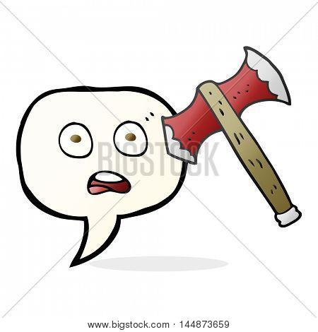 freehand drawn speech bubble cartoon axe