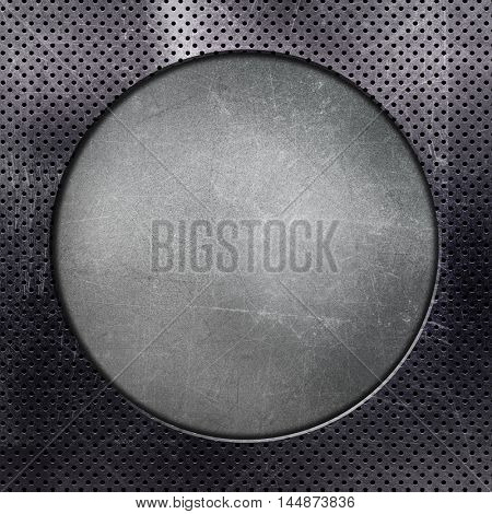 Metallic background with circle cut out