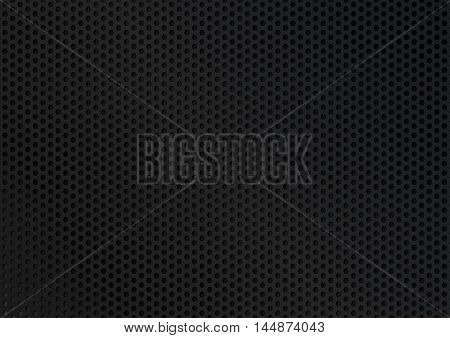 Black perforated metal plate. Sheet of metal with holes in the shape of hexagons. Vector background