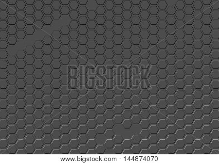 Abstract gray background of repeating hexagons. Honeycomb on gray background. Texture consisting of duplicate cell. Vector background