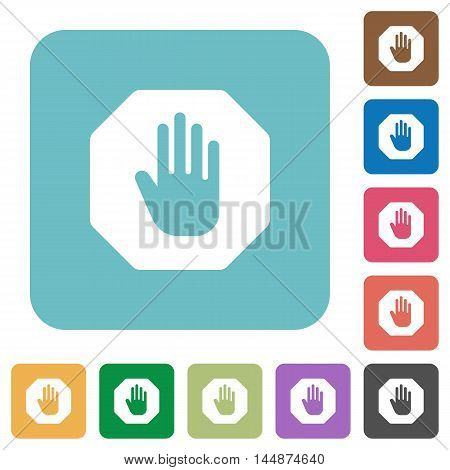 Flat stop sign icons on rounded square color backgrounds.