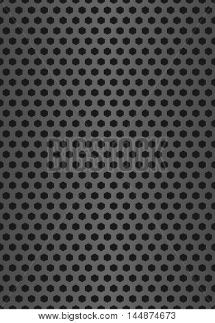 Metal grill seamless pattern background. Vector geometric pattern of hexagons. Realistic hexagonal grid background. Realistic seamless metal cell.