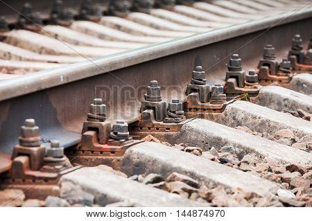 Modern Railway Track Details, Close Up Photo