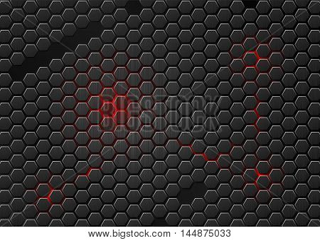 Dark metal cell composed of hexagons. Abstract geometric metallic background. Carbon steel honeycomb. Futuristic wallpaper