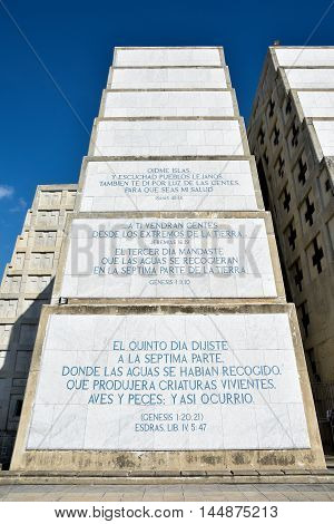 Santo Domingo, Dominican Republic - January 30: Exterior view of Christopher Columbus Lighthouse with inscriptions close up. Taken on January 30 2016, west zone of Santo Domingo, Dominican Republic.