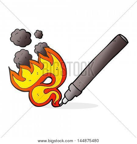 freehand drawn cartoon flaming pen