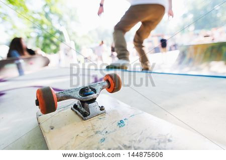 Blank skateboard on the ramp. Man riding on a skateboard. Skatepark