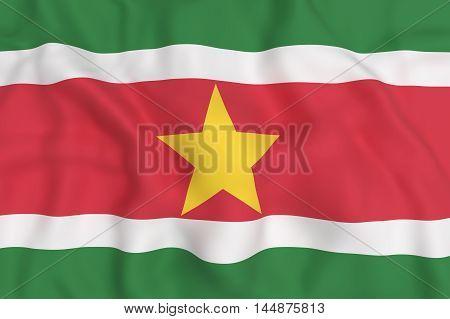 Republic Of Suriname Flag Waving