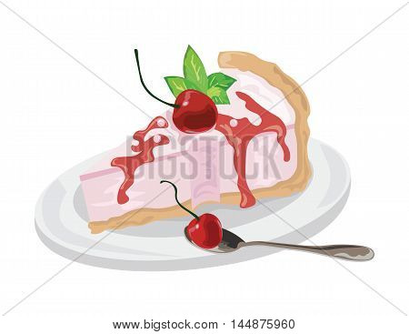 Delicious cake Vector isolated. Vector cake slice isolate. Cranberry fruits jam topic