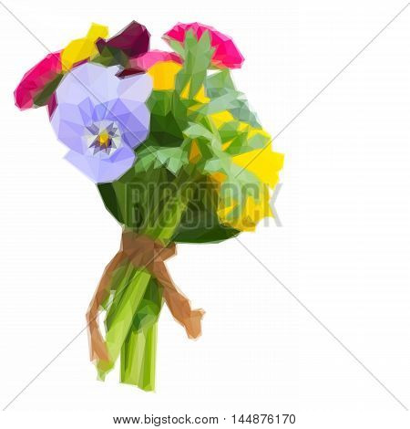 Low poly illustration Posy of fresh pansies, daisies and ranunculus