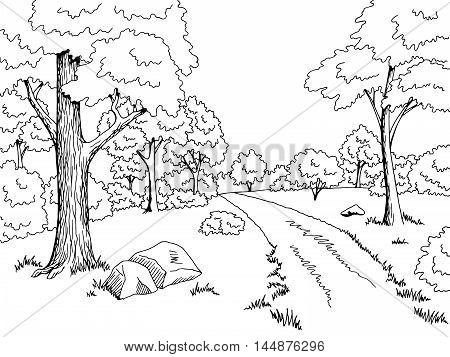 Forest road graphic art black white landscape sketch illustration vector