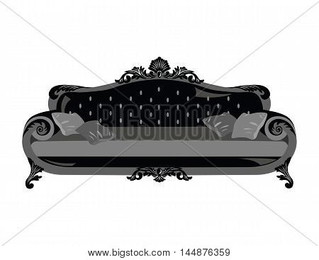 Vintage sofa Vector. Rich carved ornaments furniture. Vector Victorian Style couch. Black color sketch