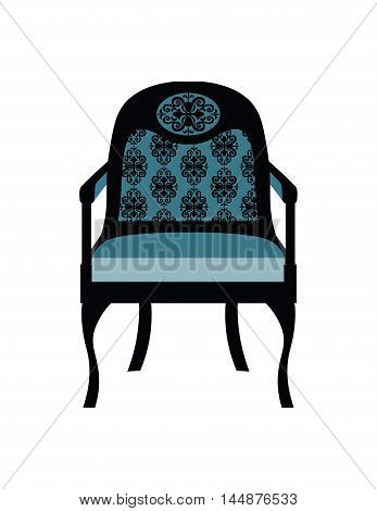 Vintage Chair furniture Vector. Rich carved ornaments furniture. Vector Victorian Style furniture. Royal blue color sketch