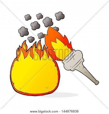 freehand drawn cartoon flaming torch