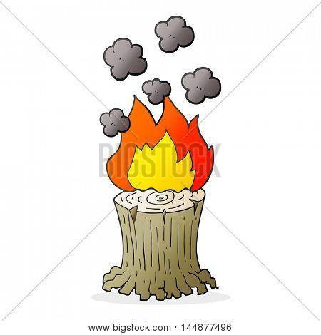 freehand drawn cartoon burning tree stump
