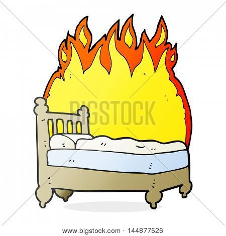freehand drawn cartoon beds are burning