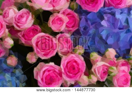 Low poly illustration bouquet of fresh pink roses and blue hortensia flowers close up
