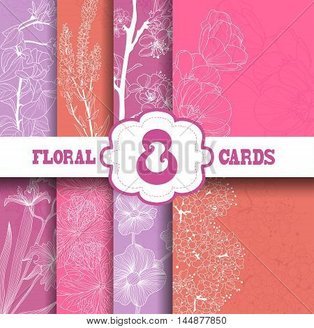 Set of 8 elegant floral cards with hand drawn decorative flowers design elements. Can be used for wedding invitations greeting cards baby shower.