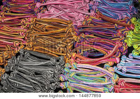 Set of colorful bobble hair bands background