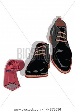 Black classic male shoes and red tie. Black elegant shoes and tie Vector