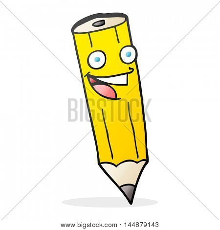 happy freehand drawn cartoon pencil