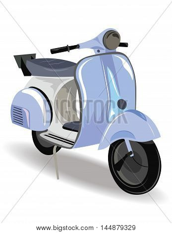 Blue Motor Scooter with flowers Vector illustration. Vintage Retro style bike