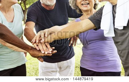 Group of Senior Retirement Exercising Togetherness Concept