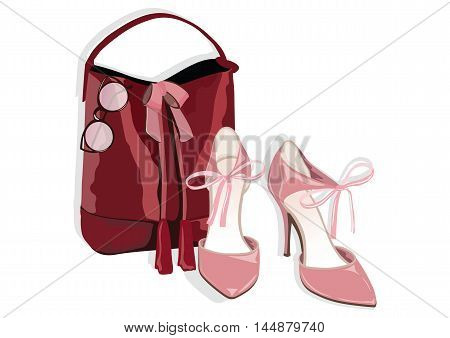 Beautiful shinning Shoes and bag Accessory. Vector Watercolor illustration