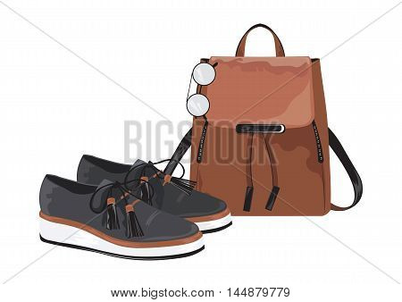 Vector Vintage leather bag and shoes set on white background