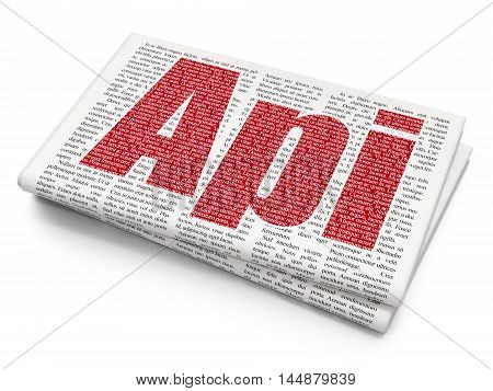 Software concept: Pixelated red text Api on Newspaper background, 3D rendering