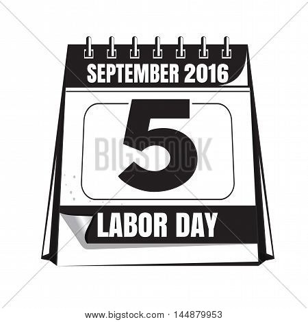 Black and white Labor Day calendar icon. Labor Day 2016. Illustration isolated on white background