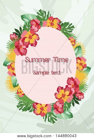 Exotic tropical Summer card with wreath of flowers. Vector background illustration