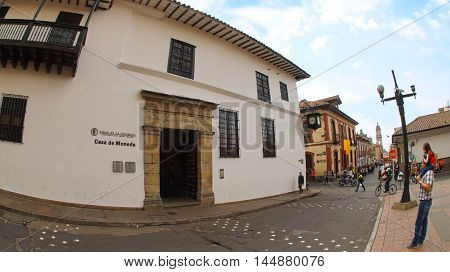 Bogota, Cundinamarca / Colombia - January 19 2016: View of Bogota Mint in the La Candelaria area in the downtown of the city of Bogota