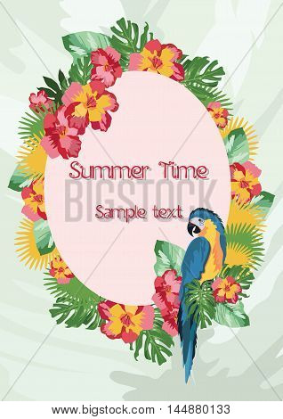 Exotic tropical Summer card with parrot birds and flowers. Vector background illustration