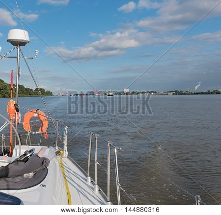 Sailing yacht in the trip on the North Sea