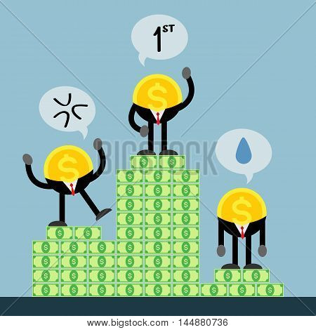 coin money businessman get rank. first, second and third. Three emotion. happy, angry and sad.