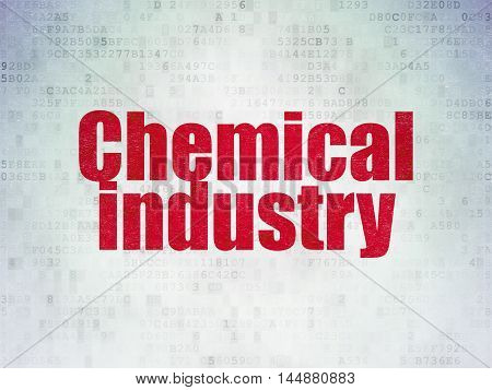 Industry concept: Painted red word Chemical Industry on Digital Data Paper background
