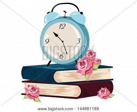 Alarm clock and books Vector illustration. Vintage set for learning, work flow layout, banner, diagram, deadline, school