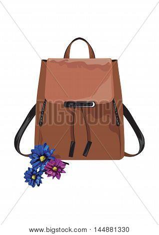 Vector Vintage leather bag on white background