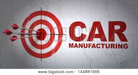 Success Industry concept: arrows hitting the center of target, Red Car Manufacturing on wall background, 3D rendering
