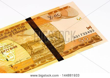 50 Ethiopian birr bank note. Birr is the national currency of Ethiopia