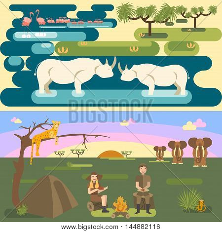Vector african safari concept set with people and animals, flamingo, rhino, leopard, elephant, snake
