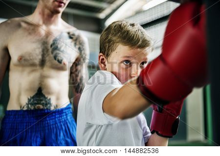 Boxer Boxing Coach Combat Exercise Gym Concept