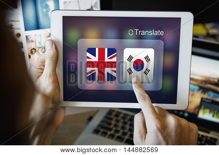 Flag Countries Foreign Word Translation Concept