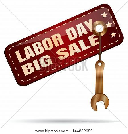 Labor Day Big Sale. Red tag with a golden spanner. Illustration isolated on white background
