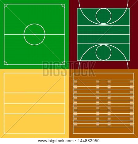 Top view of sport fields vector illustration set. Grounds for american football, basketball, volleyball, soccer ball. Team games symbols. Sports stadium signs